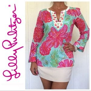 LILLY PULITZER HIBISCUS PRINT THANDIE TUNIC MEDIUM